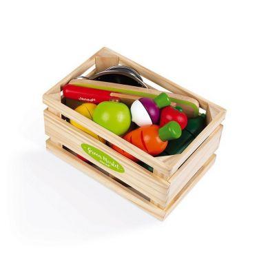 Janod - Drewniana Skrzynka z Warzywami i Owocami do Krojenia oraz Akcesoriami 23 Elementy 3+