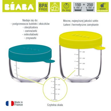 Beaba - Zestaw Pojemników/Słoiczków Szklanych z Hermetycznym Zamknięciem 150 + 250 ml Blue i Neon