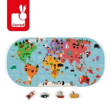 Janod - Puzzle do Kąpieli Mapa Świata 28 elementów 3+