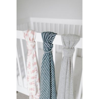 aden+anais - Miękki Kocyk Snuggle Knit - Navy Stripe 120x120cm