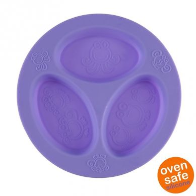 Oogaa - Silikonowy Talerzyk Trójdzielny Purple Divided Plate