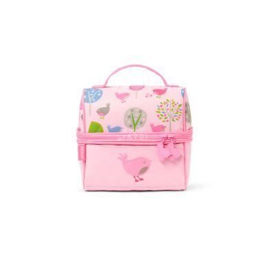 Penny Scallan - Lunchbox z Zamkiem na Środku Różowy w Ptaszki