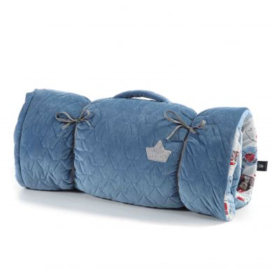 La Millou - Velvet Collection Nap Mat Candy by Maciej Zakościelny Denim Breveheart Lion Blue