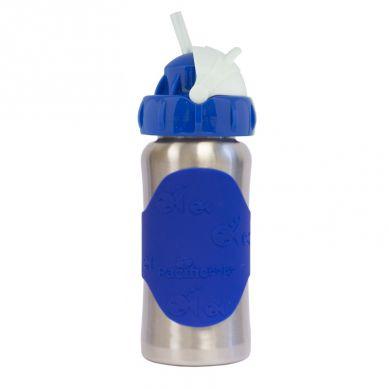 Pacificbaby - Butelka ze Słomką GroGrow 380 ml Silver Blue
