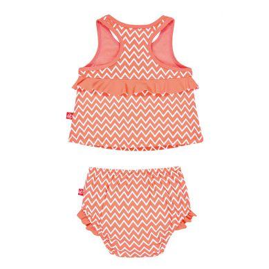 Lassig - Kostium do Pływania Dwuczęściowy z Wkładką Zigzag Peach UV 50+ 0-6m