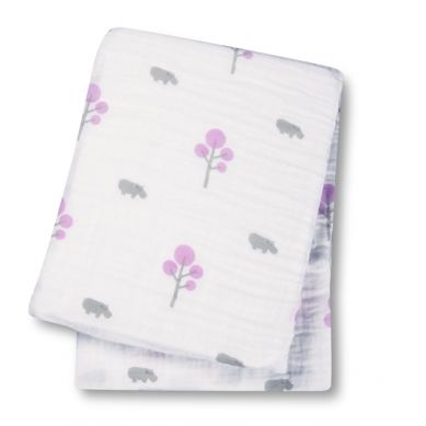Lulujo - Kocyk Muślinowy Hipopotam Różowy