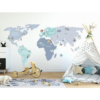 Pastelowelove - Naklejka na Ścianę Mapa Niebieska L 190x100 cm