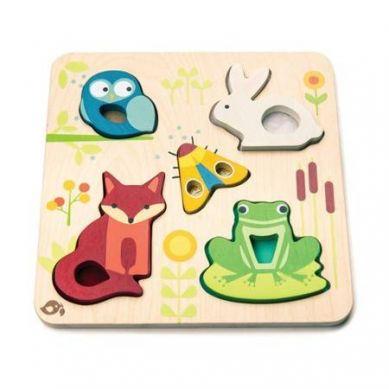 Tender Leaf Toys - Drewniana Układanka Sensoryczna Zwierzęta Na Łące 18m+