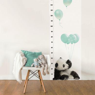 Dekornik - Naklejka Ścienna Miarka Wzrostu Panda z Miętowymi Balonami 150x60cm