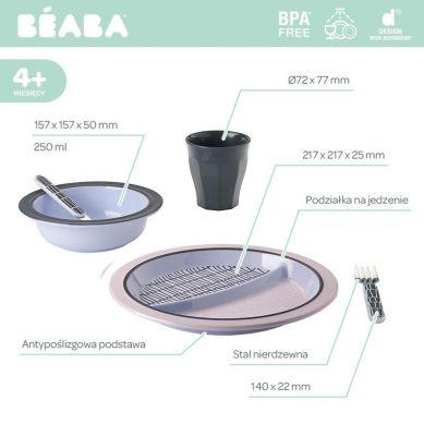 Beaba - Komplet Naczyń z Melaminy Pink Grid