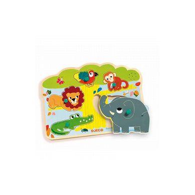 Djeco - Drewniane Puzzle z Dźwiękiem Zwierzątka w ZOO