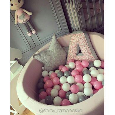 Misioo - Suchy Basen z 200 Piłeczkami 40 cm Pudrowy Róż + 200 Dodatkowych Piłek