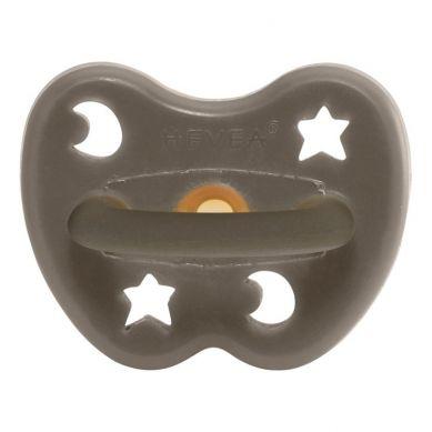 Hevea - Anatomiczny Smoczek Kauczukowy 3-36 msc, Księżyc/Gwiazdki Shiitake Grey