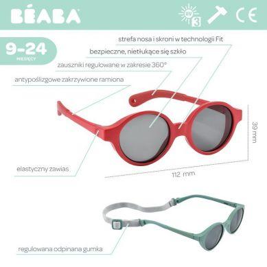 Beaba - Okulary Przeciwsłoneczne dla Dzieci 9-24 Miesięcy Poppy Red