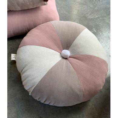 Muzpony - Okrągła Poduszka z Pomponem Lniany Zakątek