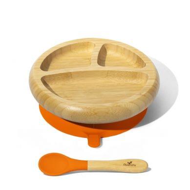 Avanchy - Baby Bambusowy Talerz z Przyssawką i Przegródkami z Łyżeczką 4m+ Orange