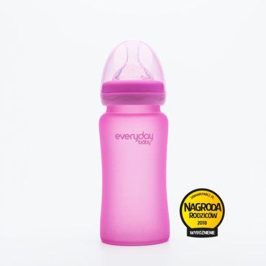 Everyday Baby - Szklana butelka reagująca na temperaturę 240ml Różowa