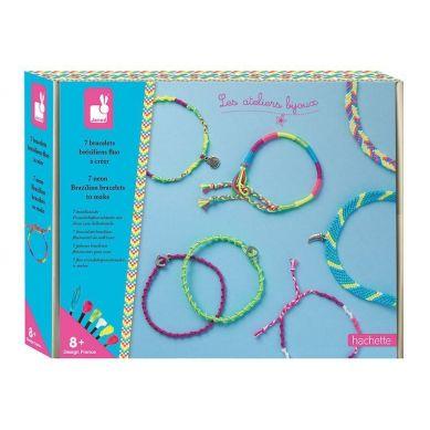 Janod - Zestaw do Tworzenia Biżuterii Neonowe Brazylijskie Bransoletki 8+