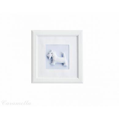 Caramella - Obrazek Błękitny z Motywem Błękitnego Pieska z Chustką i Kokardą