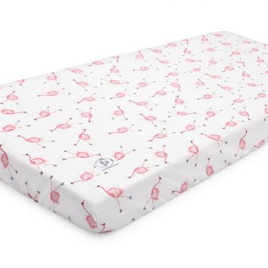 Maki Mon Ami - Bawełniane Prześcieradło z Gumką 70x140 cm Flaming Maja Flamingi