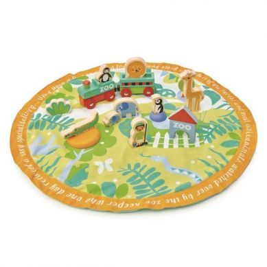 Tender Leaf Toys - Mata z Drewnianymi Zabawkami Safari 3+
