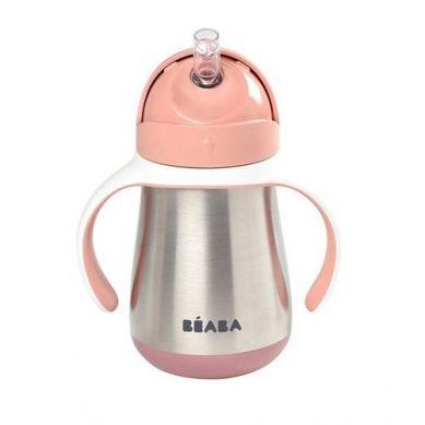 Beaba - Stalowy Kubek Niekapek ze Słomką 250ml Old Pink