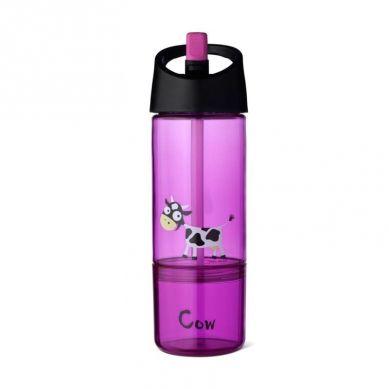 Carl Oscar - Kids Bottle Bidon z Pojemnikiem na Przekąski 2w1 Purple Cow