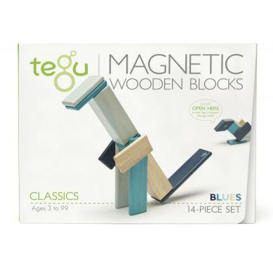 Tegu - Drewniane Klocki Magnetyczne Classics Zestaw 14szt Blues