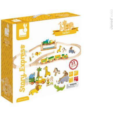 Janod - Story Box Kolejka Drewniana Safari 33 części