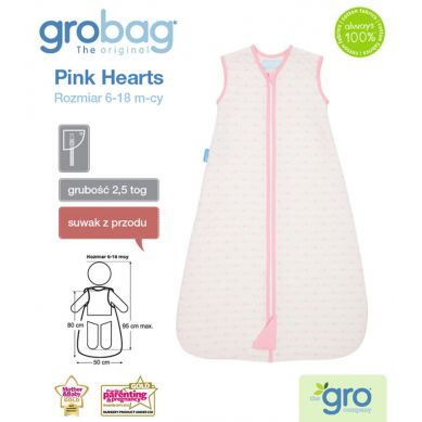 Gro Company - Śpiworek Grobag Pink Hearts grubość 2,5 tog Jacquard 18-36m