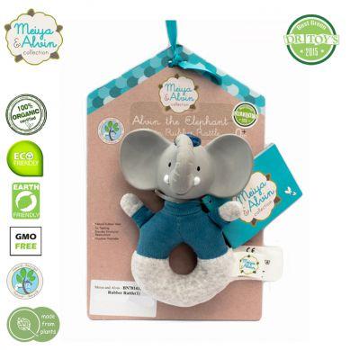 Meiya & Alvin - Miękka Grzechotka z Organicznym Gryzakiem Alvin Elephant
