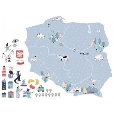 Pastelowelove - Naklejka na Ścianę Mapa Polski Niebieska M 75x70 cm