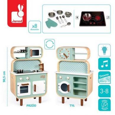 Janod - Dwustronna Drewniana Kuchnia z Pralką 2w1, z dźwiękiem, światłem LED i 8 akcesoriami 3+