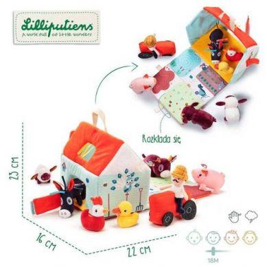Lilliputiens - Rozkładany Domek Farma z 6 Zwierzątkami, Rolnikiem i Traktorem 18m+