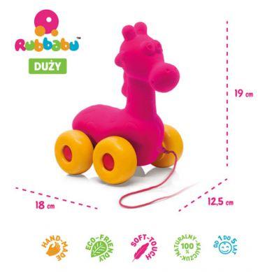 Rubbabu - Żyrafa do Ciągnięcia Sensoryczny Różowa