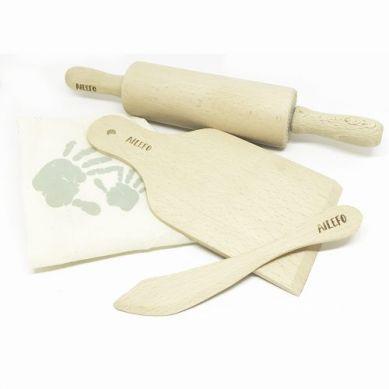 Ailefo - Zestaw Drewnianych Narzędzi Kuchennych w Bawełnianym Woreczku 3+