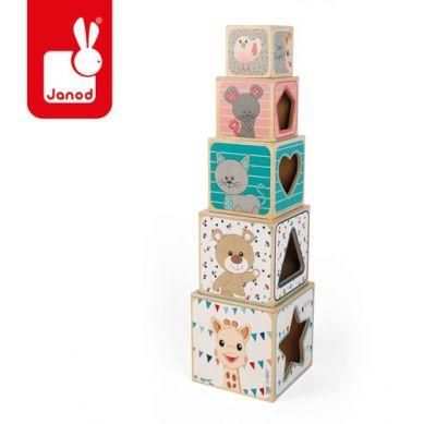 Janod - Piramida Wieża Drewniana Żyrafka Sophie 1+