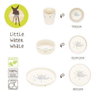 Lassig - Komplet Naczyń Bambusowych Little Water Wieloryb