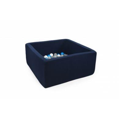 Misioo - Suchy Basen Kwadratowy z 300 Piłeczkami Granatowy 90x90x40 cm + 100 Dodatkowych Piłek