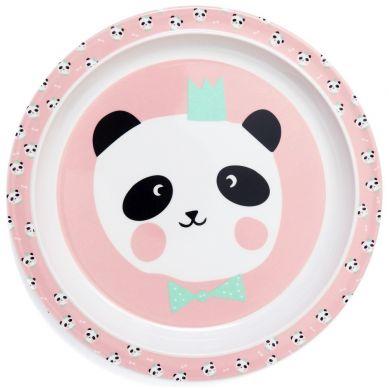 Petit Monkey- Talerz z Melaminy Panda Bear Bow Chalk Pink