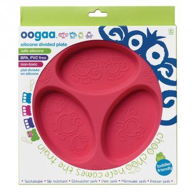 Oogaa - Silikonowy Talerzyk Trójdzielny Pink Divided Plate
