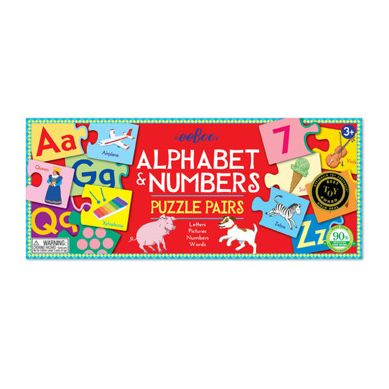 Eeboo - Puzzle Pairs Alphabet & Numbers 3+