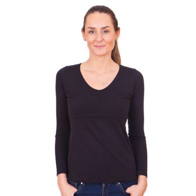 Quaranta Settimane - Koszulka do Karmienia z Długim Rękawem Czarna M