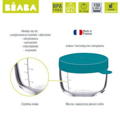 Beaba - Pojemnik Słoiczek Szklany z Hermetycznym Zamknięciem 150 ml Blue