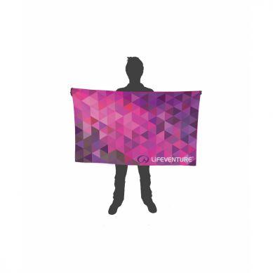 LittleLife - Ręcznik Szybkoschnący Soft Fibre Lifeventure 15x90 Różowe Trójkąty