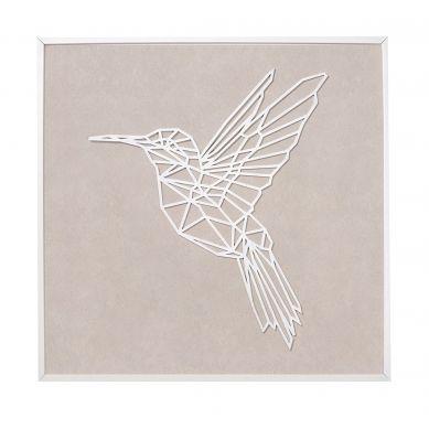 Caramella - Obraz XL Beżowy z Kolibrem