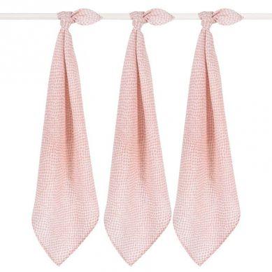 Jollein - 3 Pieluszki Niemowlęce Hydrophlic 70 x 70 cm Snake Pale Pink