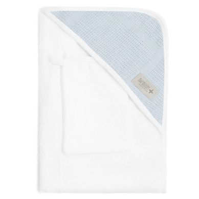 Bamboom - Ręcznik z Kapturkiem + Myjka 100% Bambus Organiczny Biały&Niebieski