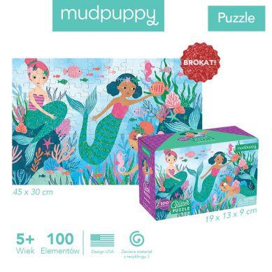 Mudpuppy - Puzzle z Brokatem Syrenki 100 Elementów
