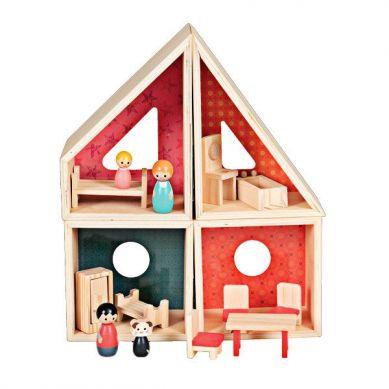Egmont Toys - Drewniany domek dla lalek z figurkami i wyposażeniem